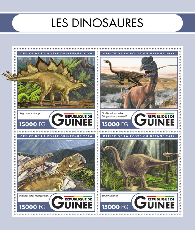 Dinosaurs - Issue of Guinée postage stamps