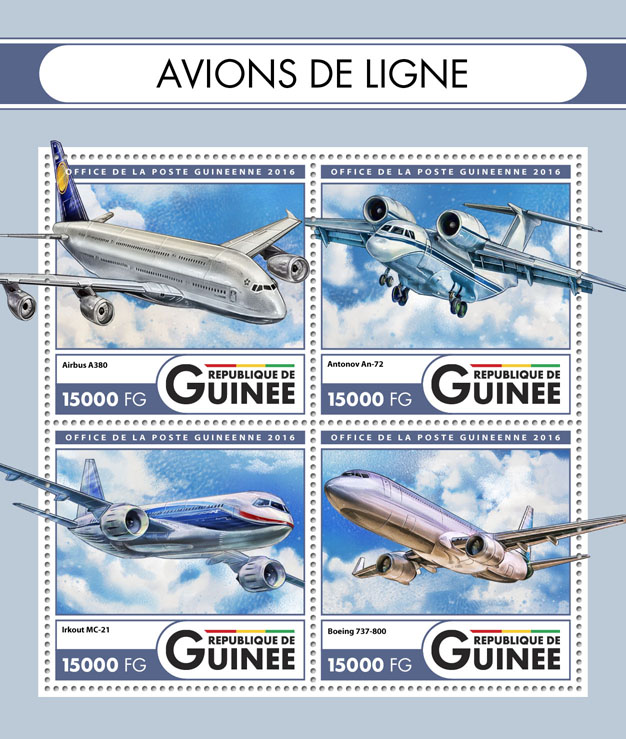 Airliners - Issue of Guinée postage stamps