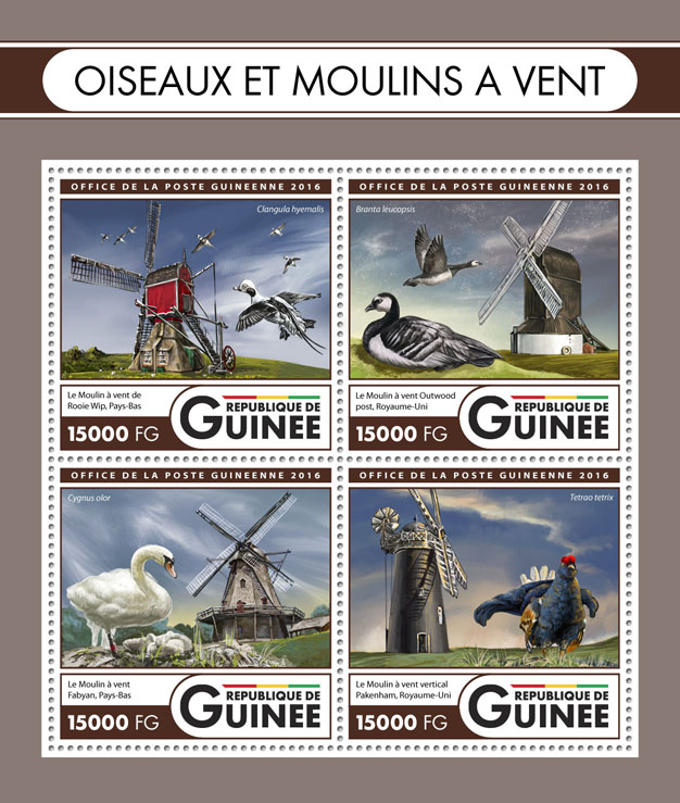 Birds and windmills - Issue of Guinée postage stamps