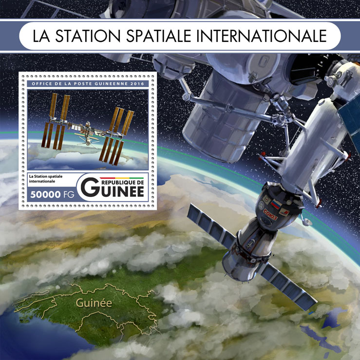 International space station - Issue of Guinée postage stamps