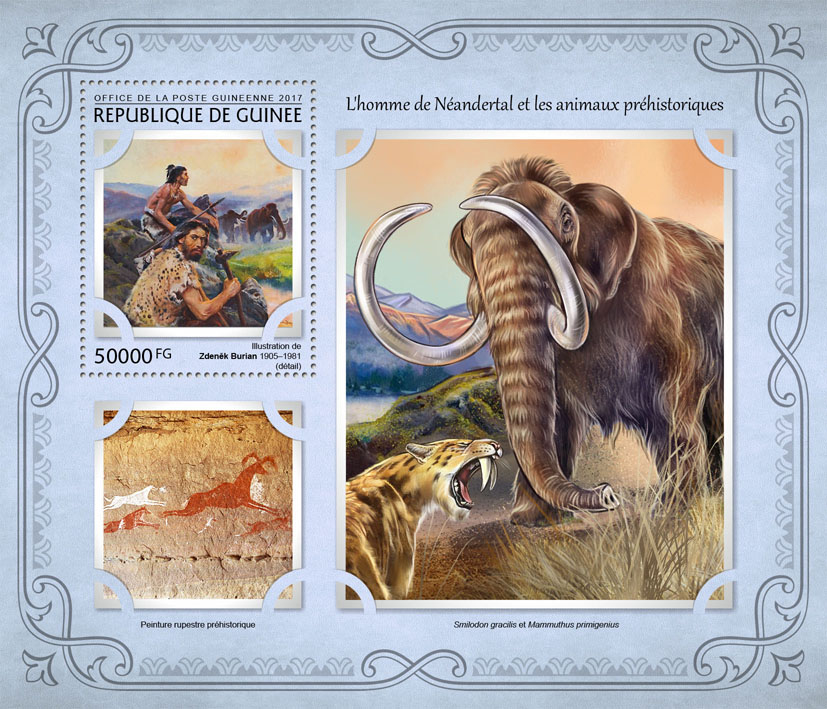 Neanderthals, prehistoric animals - Issue of Guinée postage stamps