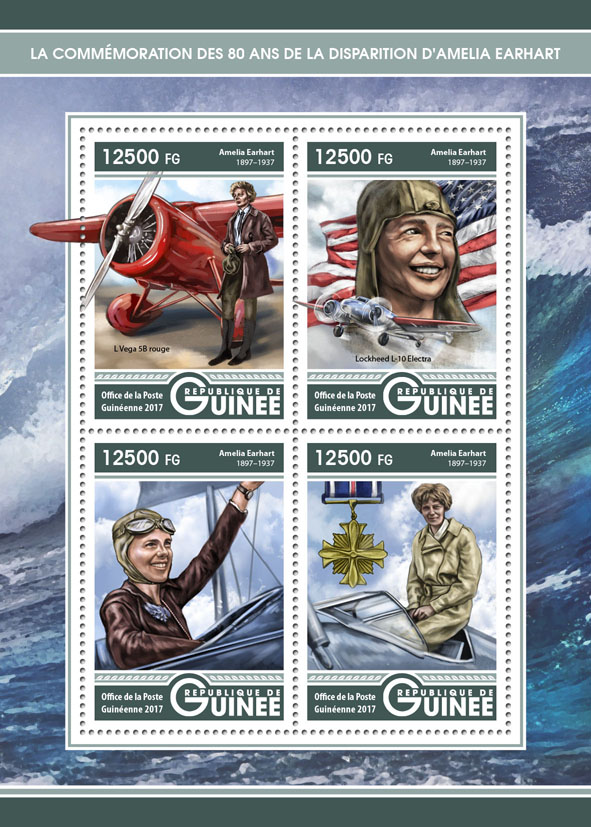 Amelia Earhart - Issue of Guinée postage stamps