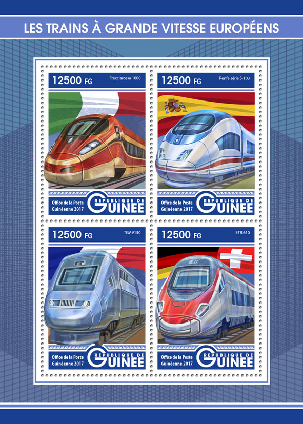 Trains - Issue of Guinée postage stamps