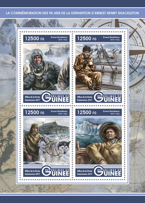 Ernest Henry Shackleton - Issue of Guinée postage stamps