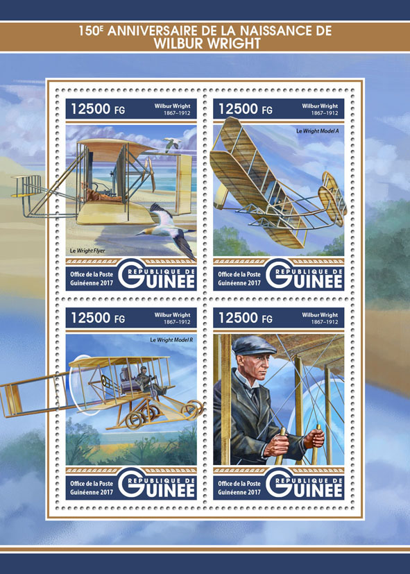Wilbur Wright - Issue of Guinée postage stamps