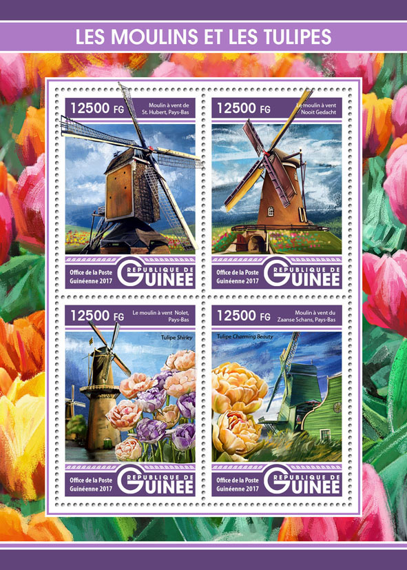 Windmills and tulips - Issue of Guinée postage stamps
