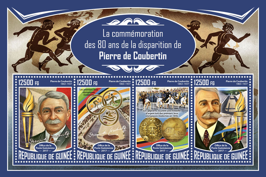 Pierre de Coubertin - Issue of Guinée postage stamps