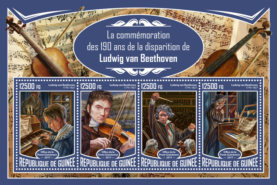 Ludwig van Beethoven - Issue of Guinée postage stamps