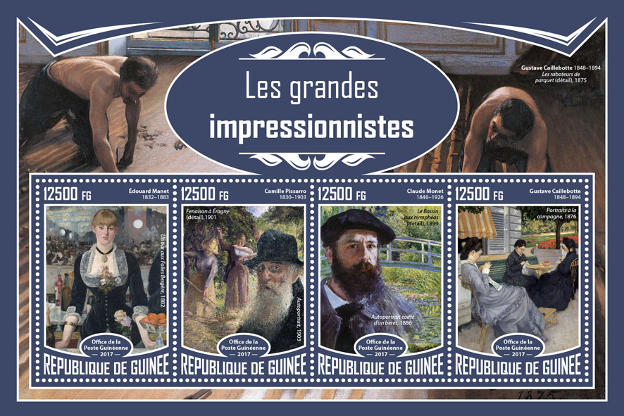 Grand impressionists - Issue of Guinée postage stamps