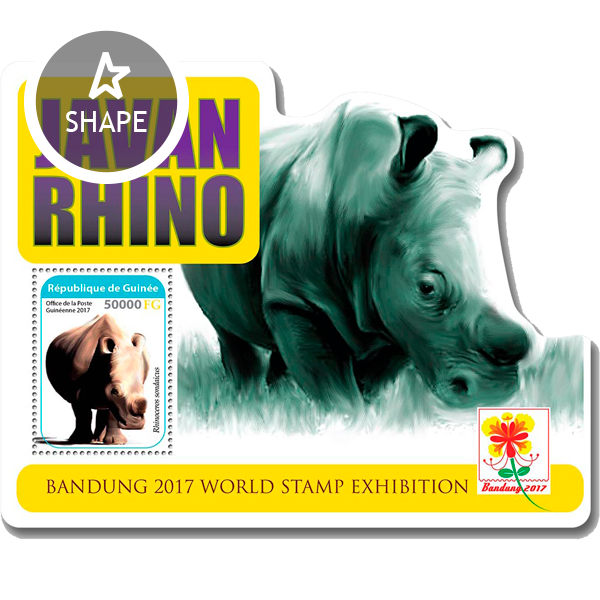 Rhino - Issue of Guinée postage stamps