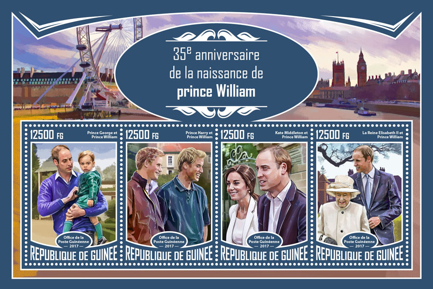 Prince William - Issue of Guinée postage stamps
