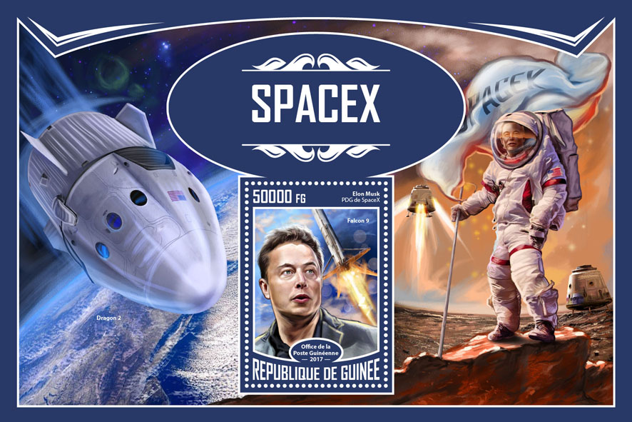 Space X - Issue of Guinée postage stamps