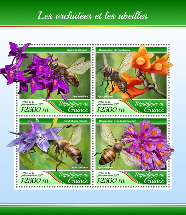 Orchids and bees - Issue of Guinée postage stamps