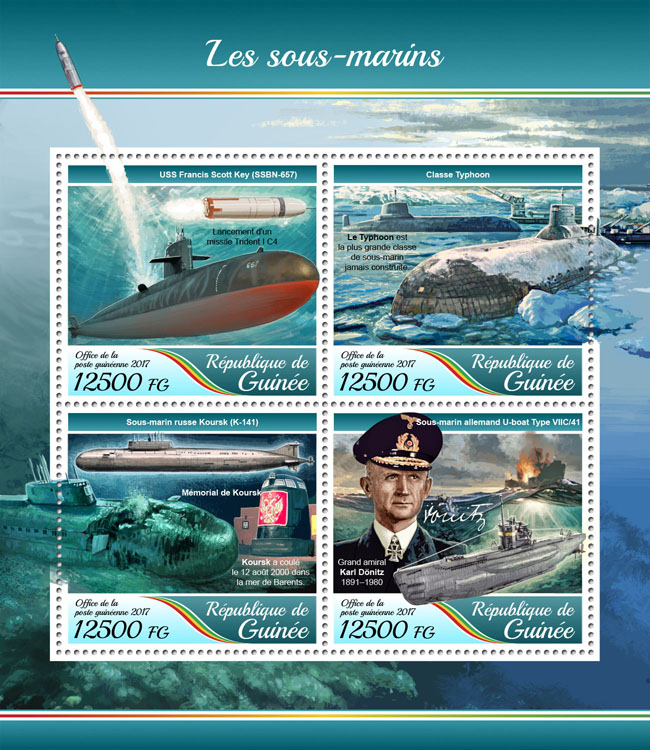 Submarines - Issue of Guinée postage stamps