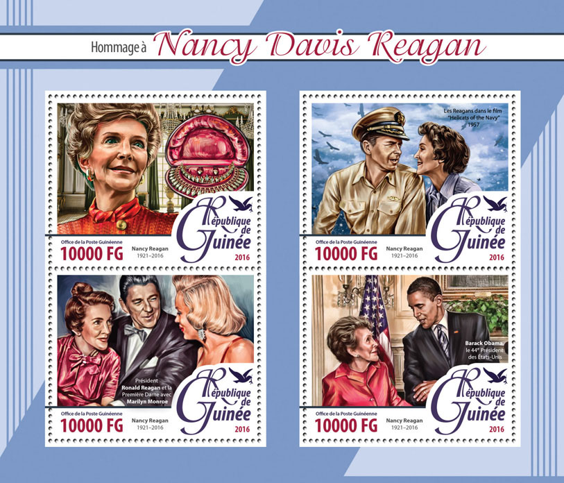 Nancy Davis Reagan - Issue of Guinée postage stamps