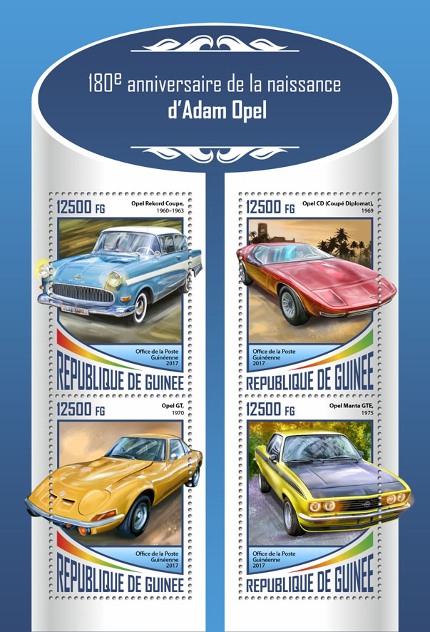 Adam Opel - Issue of Guinée postage stamps