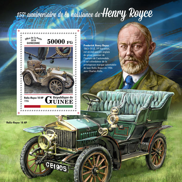 Henry Royce - Issue of Guinée postage stamps