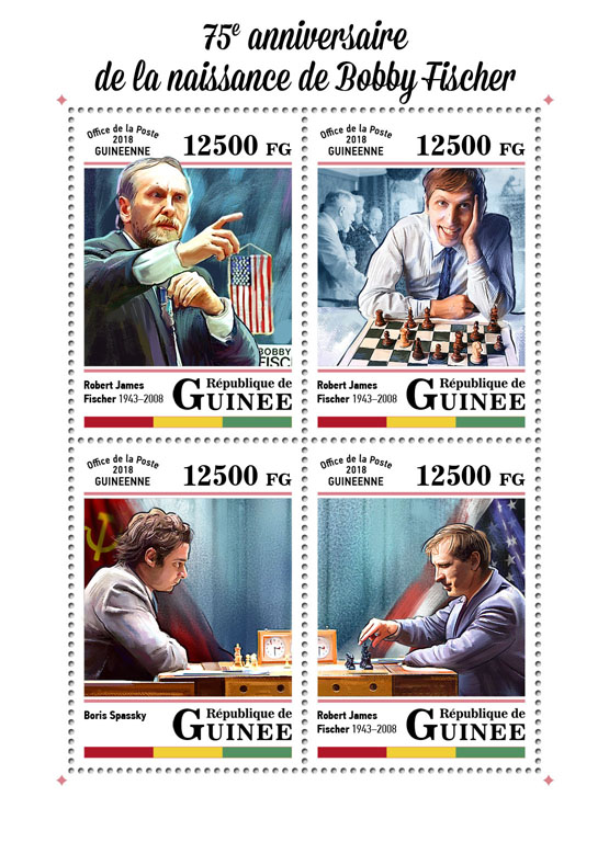 Bobby Fischer - Issue of Guinée postage stamps
