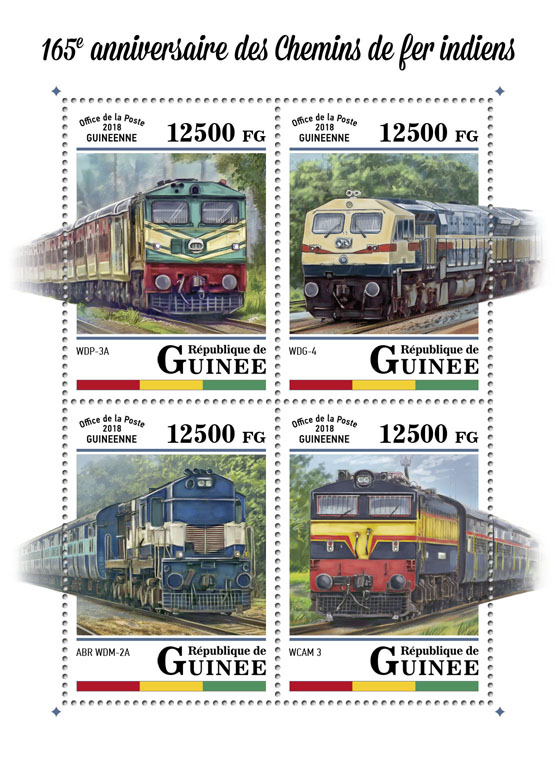 Indian Railways - Issue of Guinée postage stamps