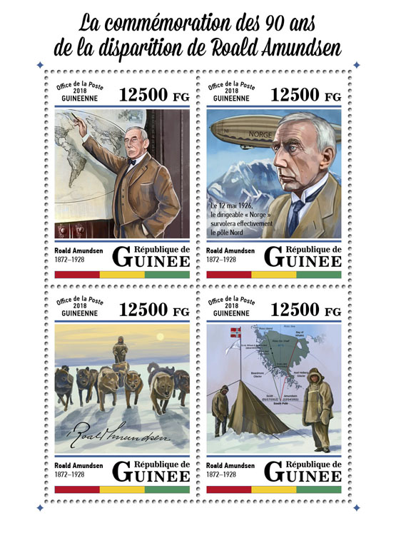 Roald Amundsen - Issue of Guinée postage stamps