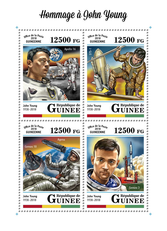 John Young - Issue of Guinée postage stamps