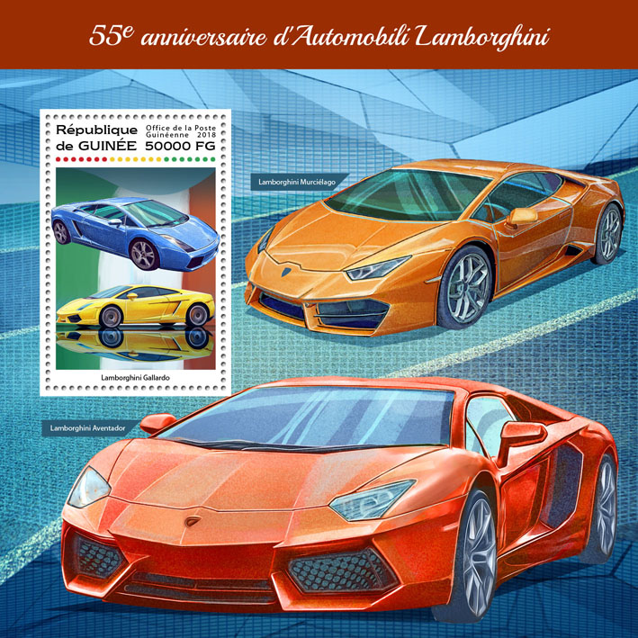 Lamborghini - Issue of Guinée postage stamps
