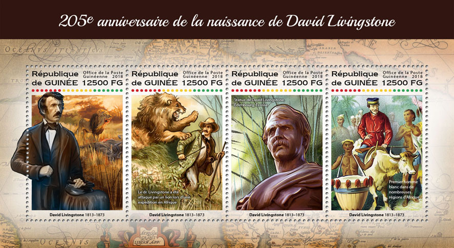 David Livingstone - Issue of Guinée postage stamps