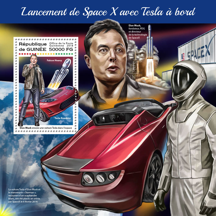 SpaceX - Issue of Guinée postage stamps