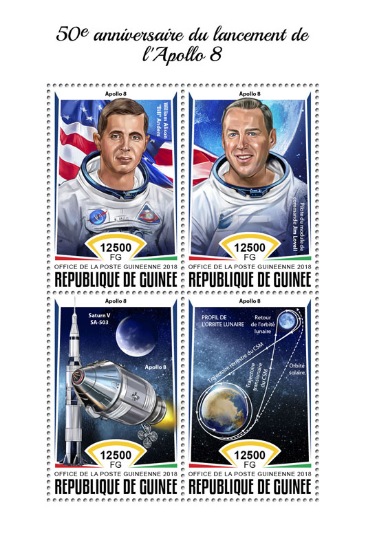 Apollo 8 - Issue of Guinée postage stamps