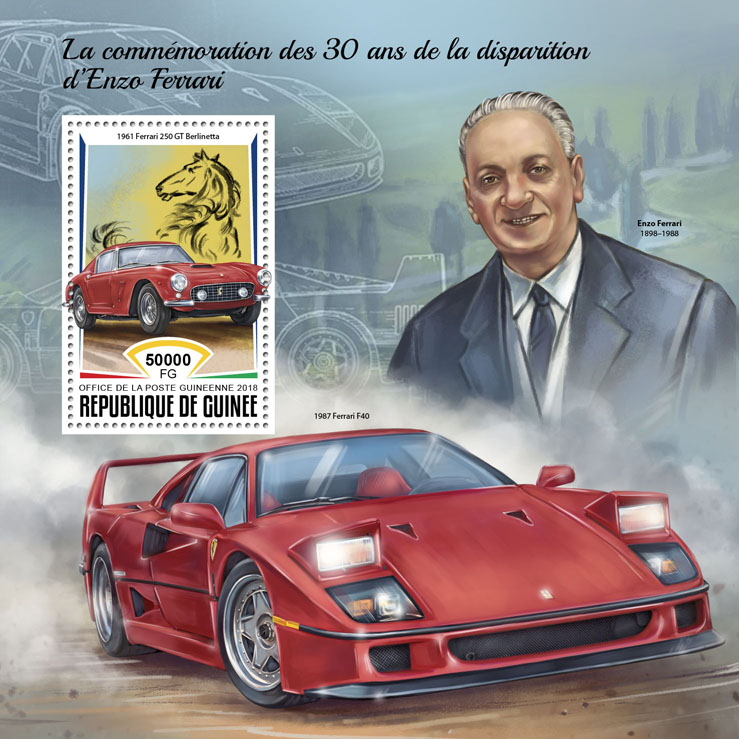 Enzo Ferrari - Issue of Guinée postage stamps