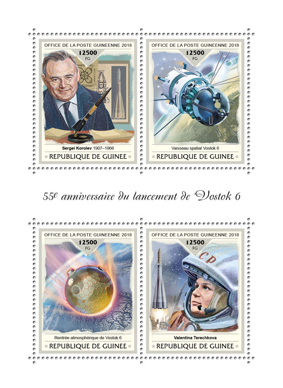 Vostok 6 - Issue of Guinée postage stamps