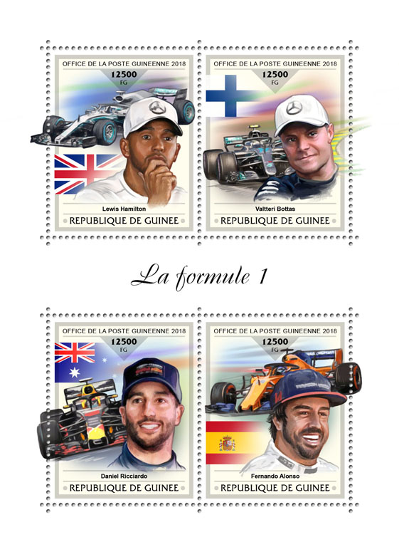 Formula 1 - Issue of Guinée postage stamps