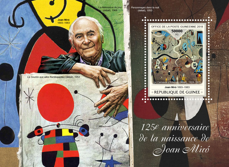 Joan Miro - Issue of Guinée postage stamps