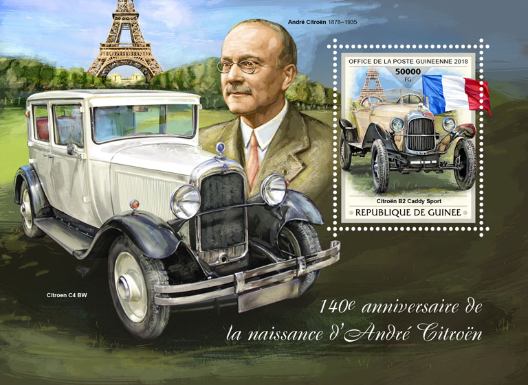 Andre Citroen - Issue of Guinée postage stamps