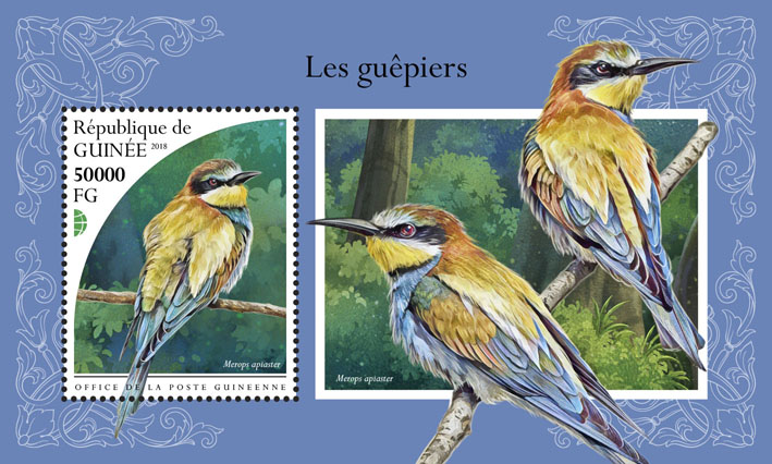 Bee-eaters - Issue of Guinée postage stamps