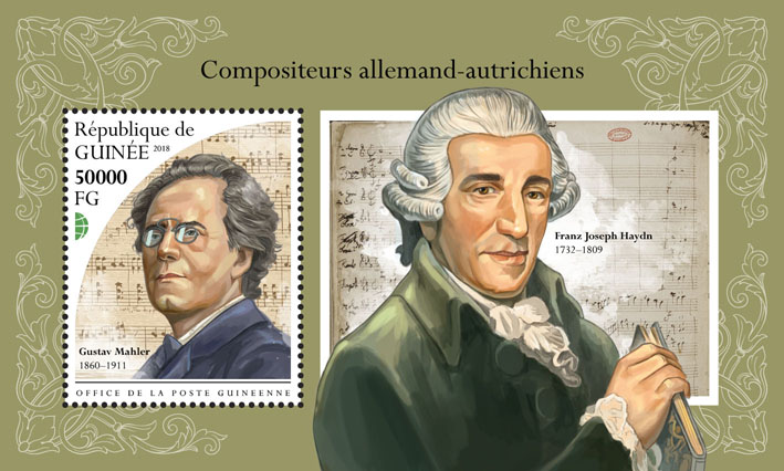 German-Austrian composers - Issue of Guinée postage stamps