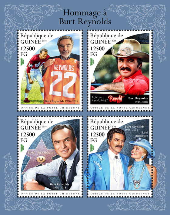 Burt Reynolds - Issue of Guinée postage stamps