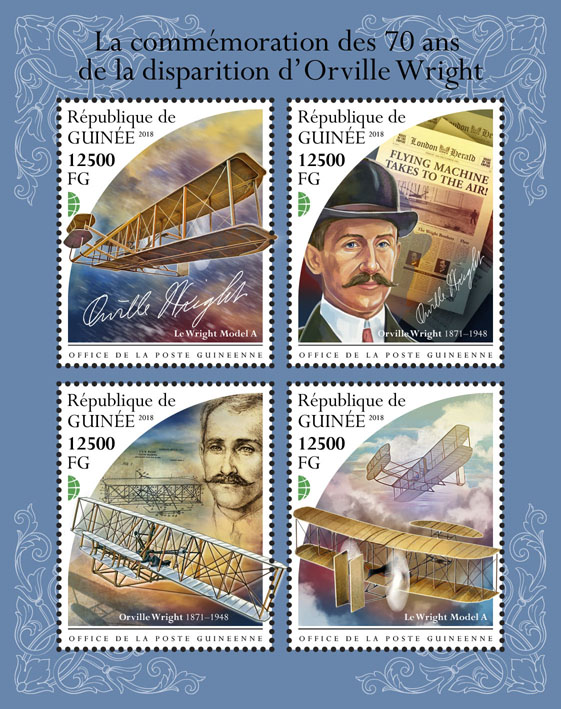 Orville Wright - Issue of Guinée postage stamps