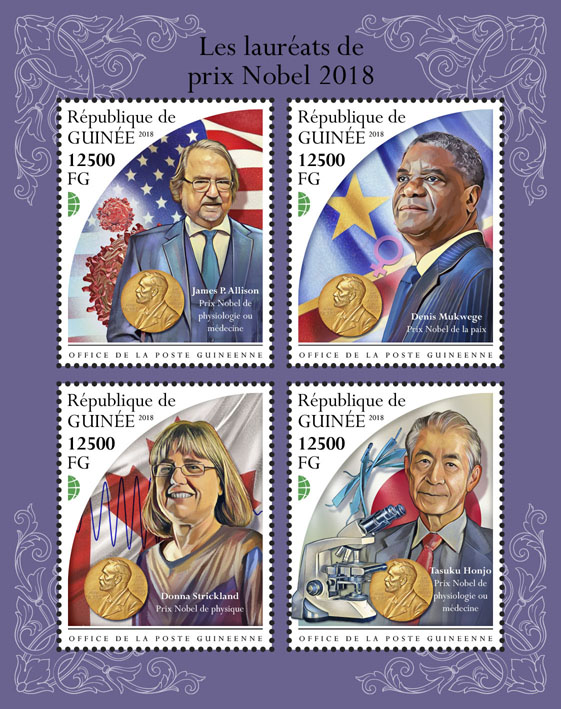 Nobel prize winners 2018 - Issue of Guinée postage stamps