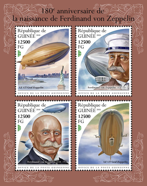 Ferdinand von Zeppelin - Issue of Guinée postage stamps