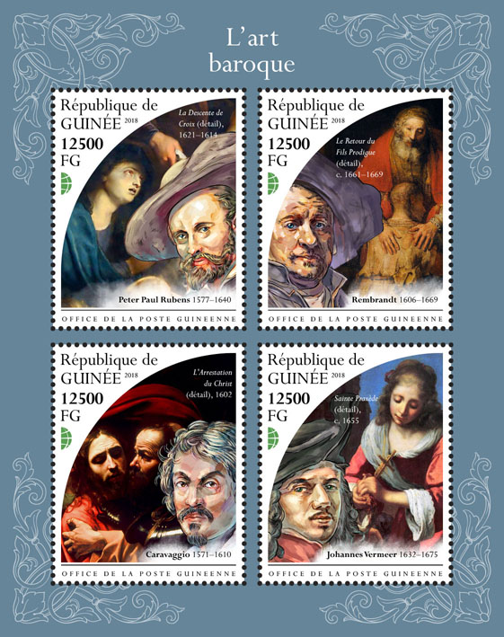 Art of Baroque - Issue of Guinée postage stamps