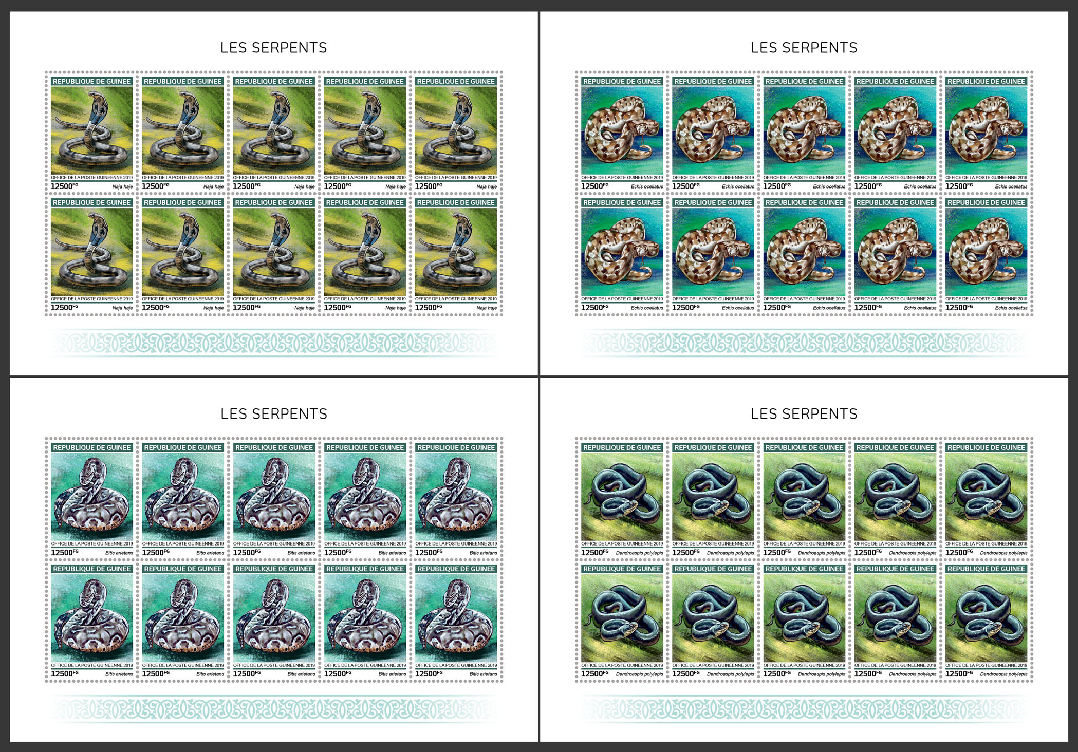 Snakes - Issue of Guinée postage stamps