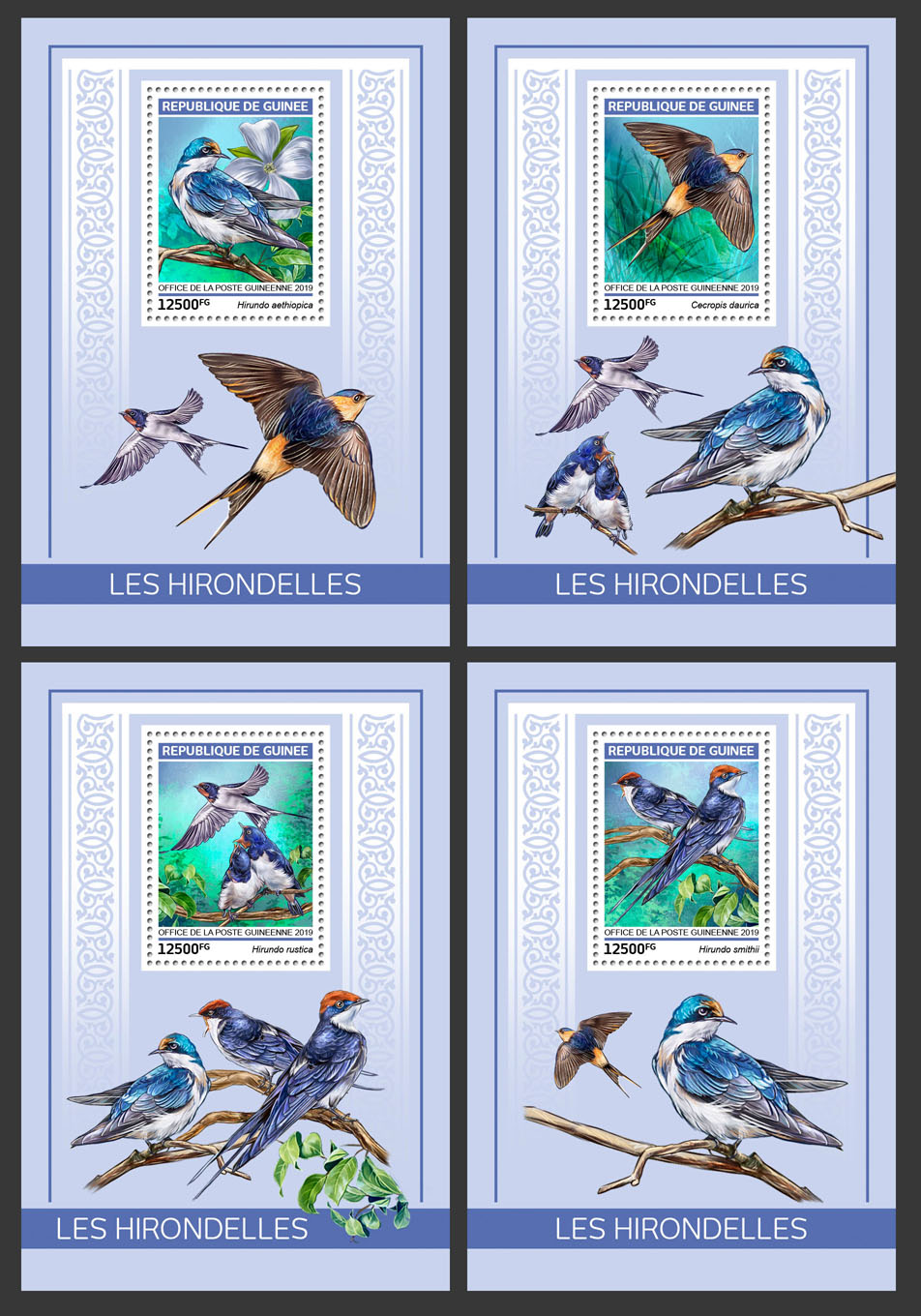 Swallows - Issue of Guinée postage stamps