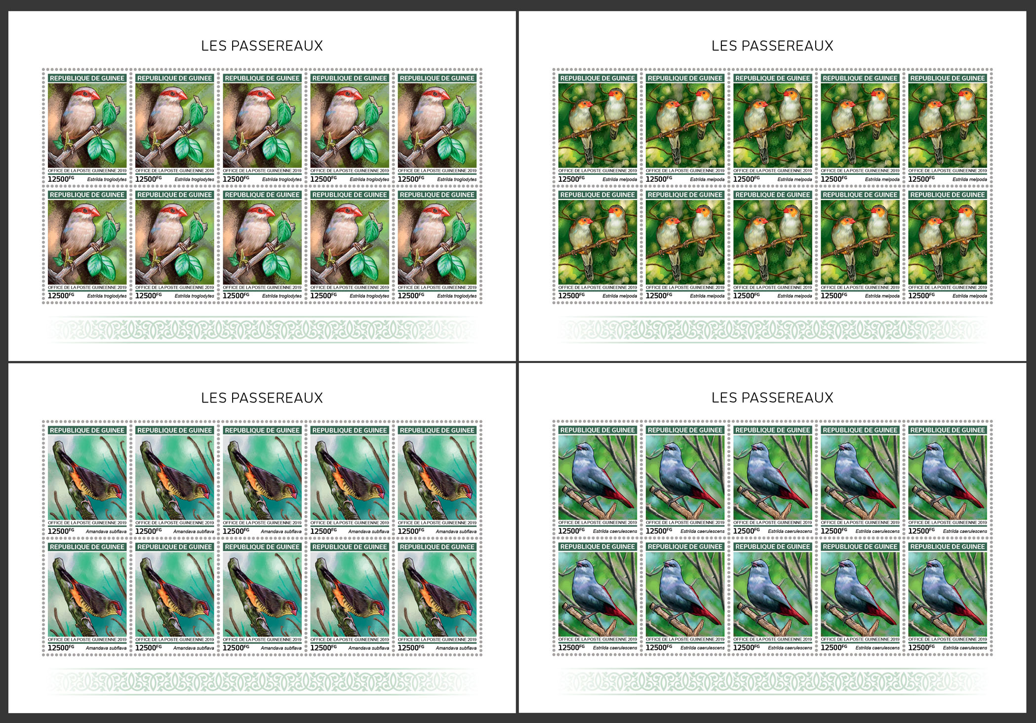 Waxbills - Issue of Guinée postage stamps