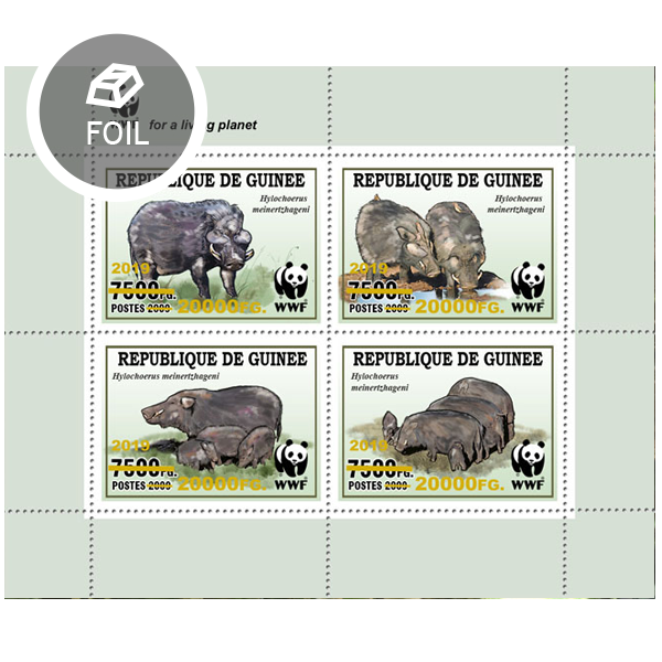 Overprint – WWF: Wild boar - Issue of Guinée postage stamps