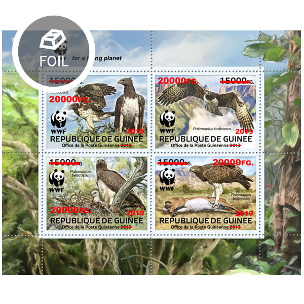 Overprint – WWF: Birds of prey - Issue of Guinée postage stamps
