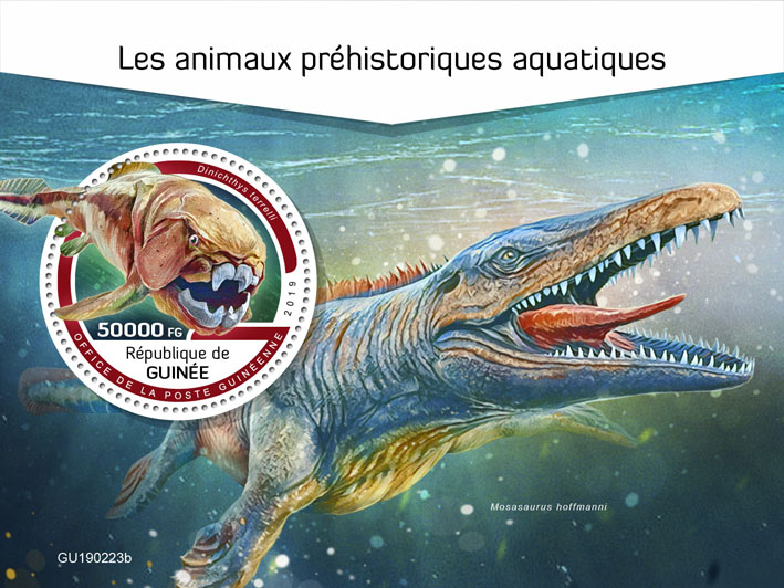 Prehistoric water animals - Issue of Guinée postage stamps