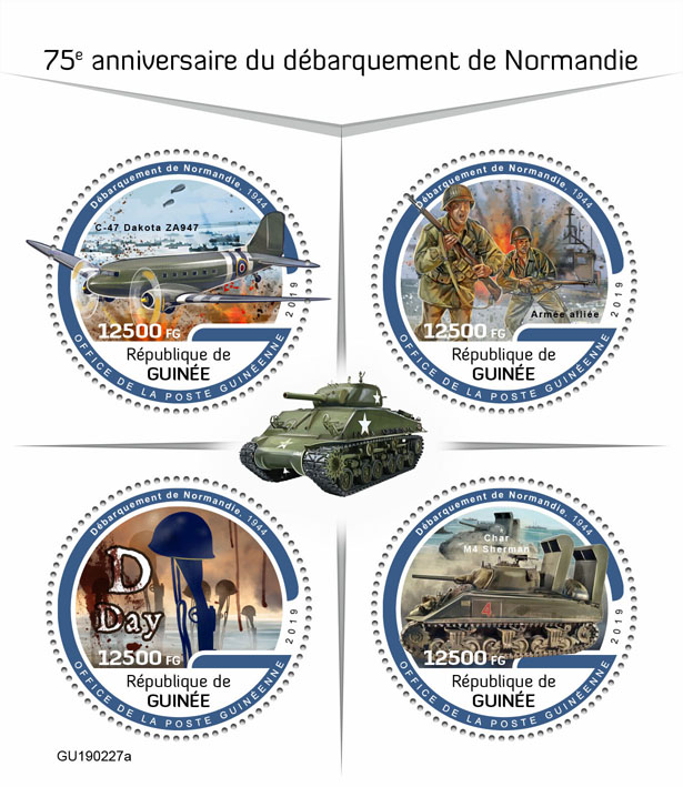 Normandy landings - Issue of Guinée postage stamps