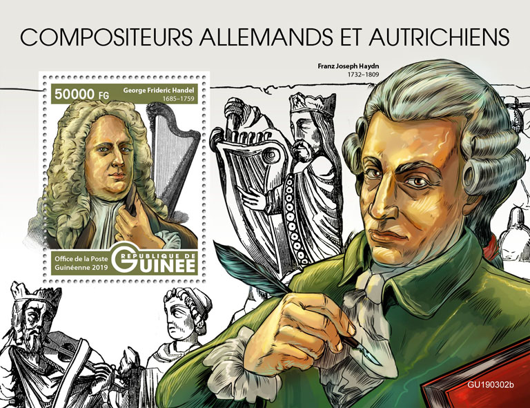 Austrian-German composers - Issue of Guinée postage stamps