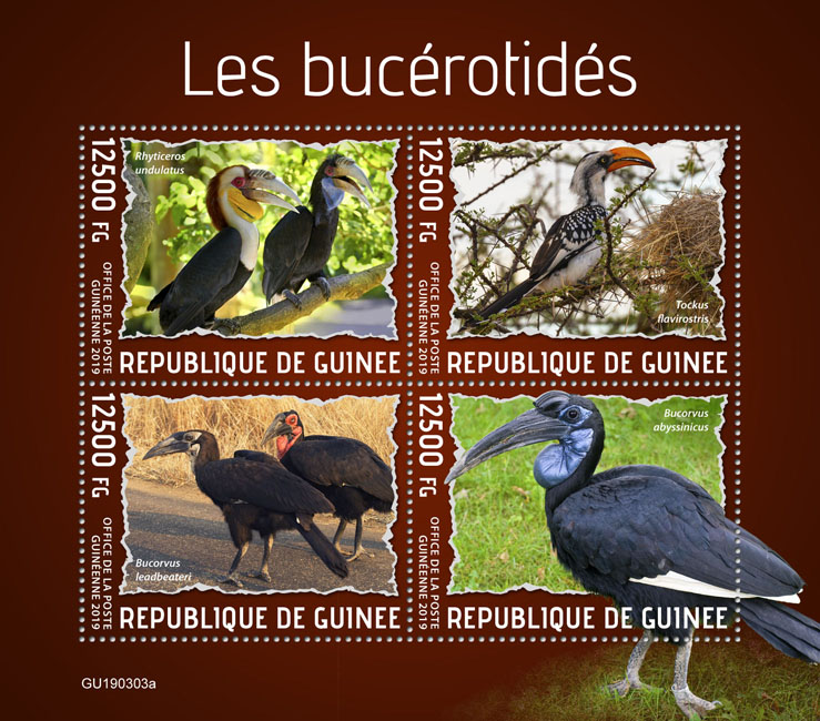 Hornbills - Issue of Guinée postage stamps